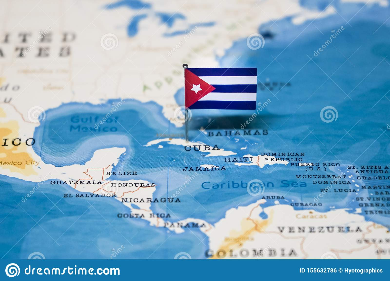 The Flag Of Cuba In The World Map Stock Photo - Image of ...