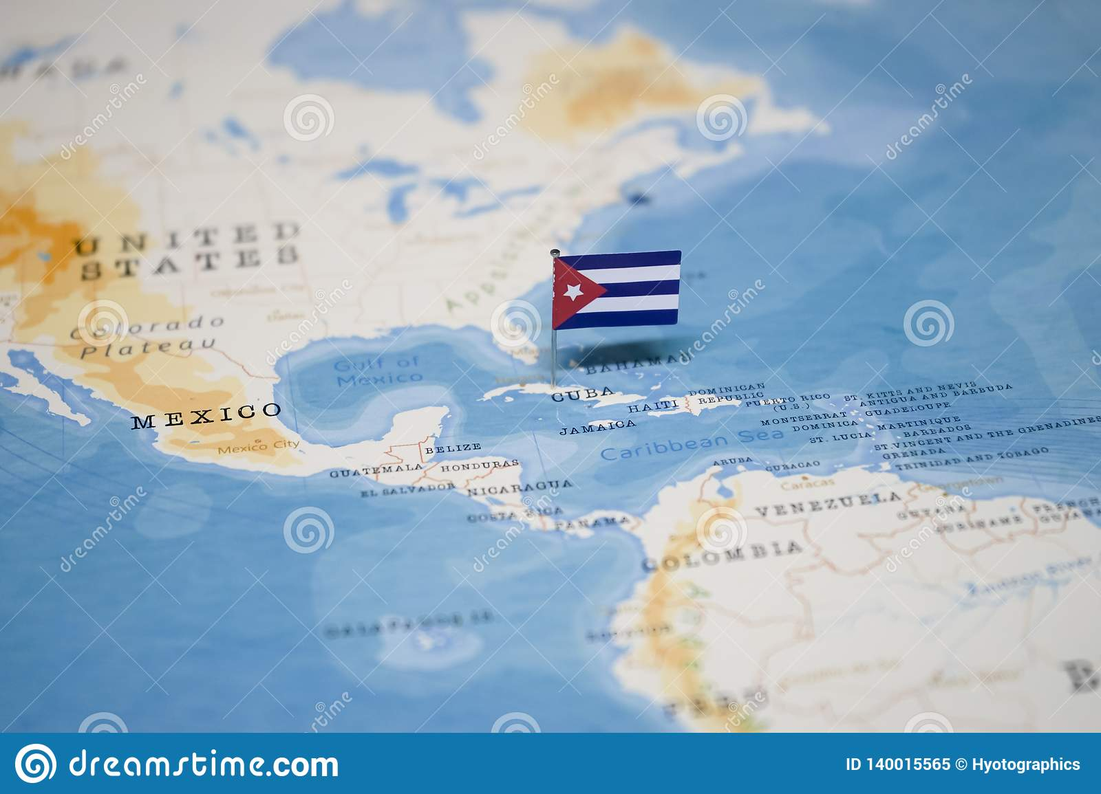 The Flag Of Cuba In The World Map Stock Image Image Of International Geography 140015565