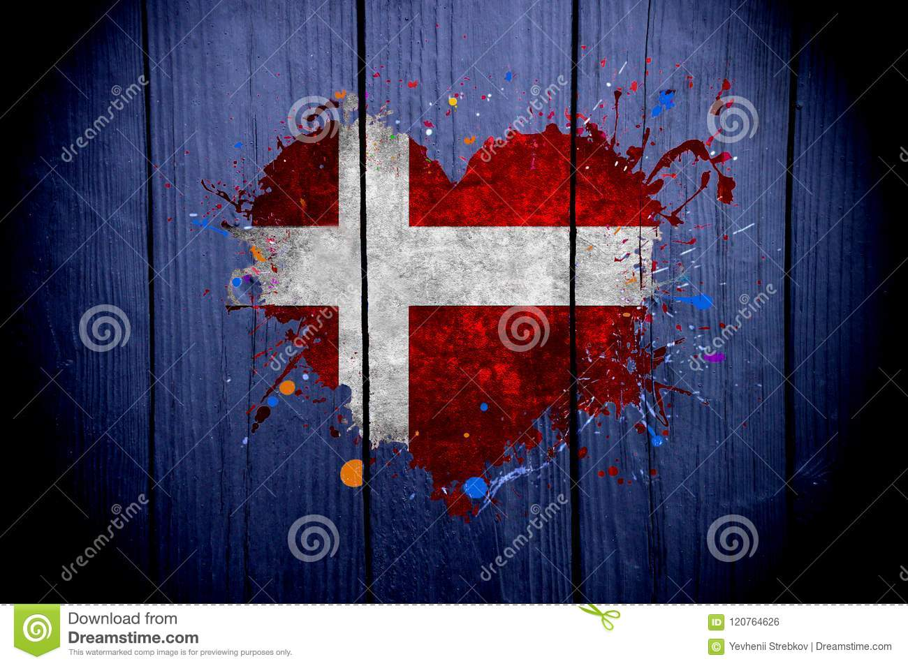 Flag of Denmark in the shape of heart on a dark background