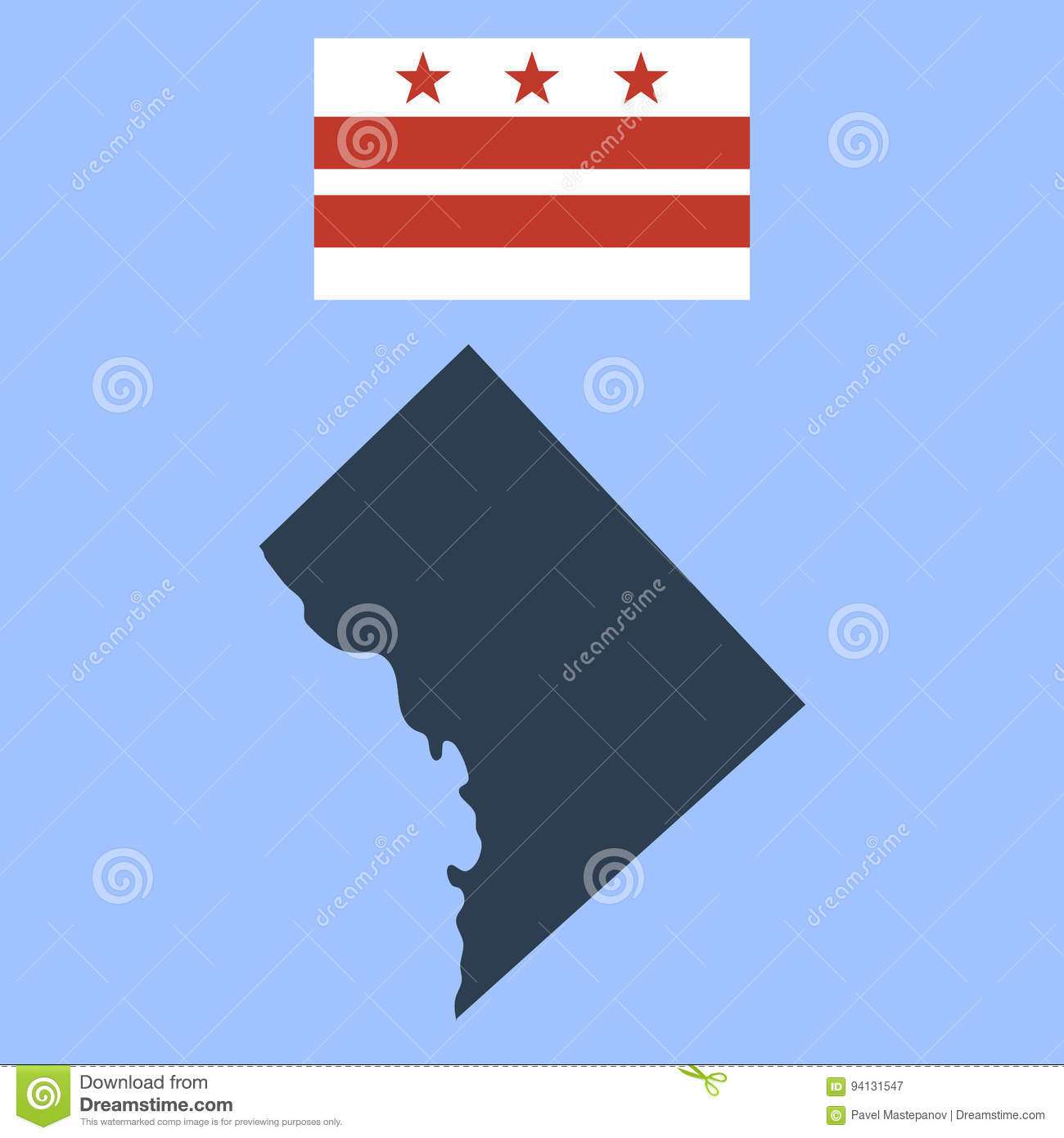 Flag Of The District Of Columbia And Map Stock Vector - Illustration ...