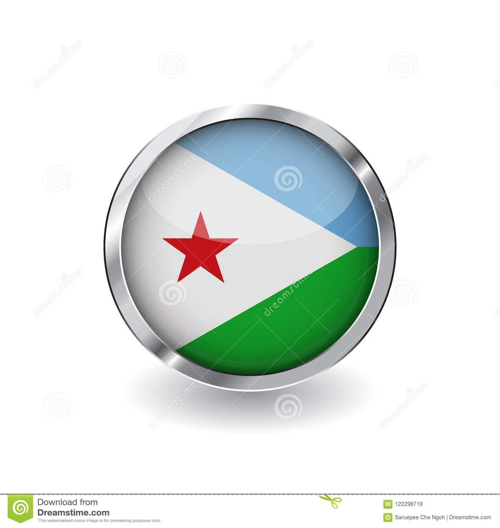 Flag Of Djibouti, Button With Metal Frame And Shadow. Djibouti Flag ...