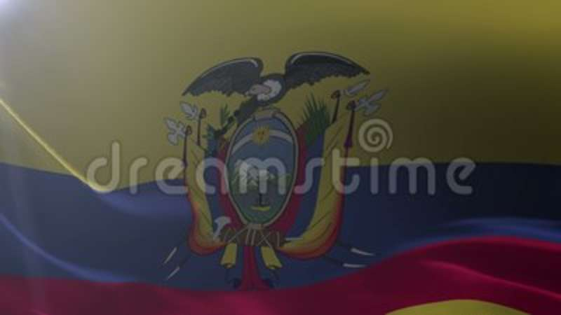 Flag Of Ecuador Waving On Flagpole In The Wind National Symbol Of