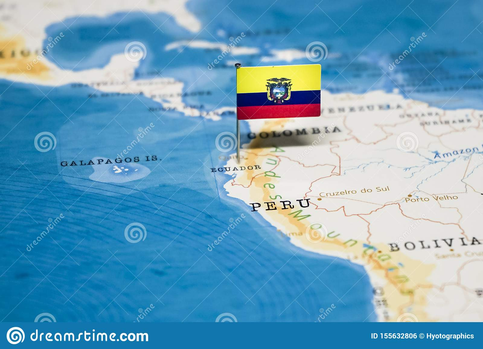 The Flag Of Ecuador In The World Map Stock Photo Image Of Nations Atlas 155632806