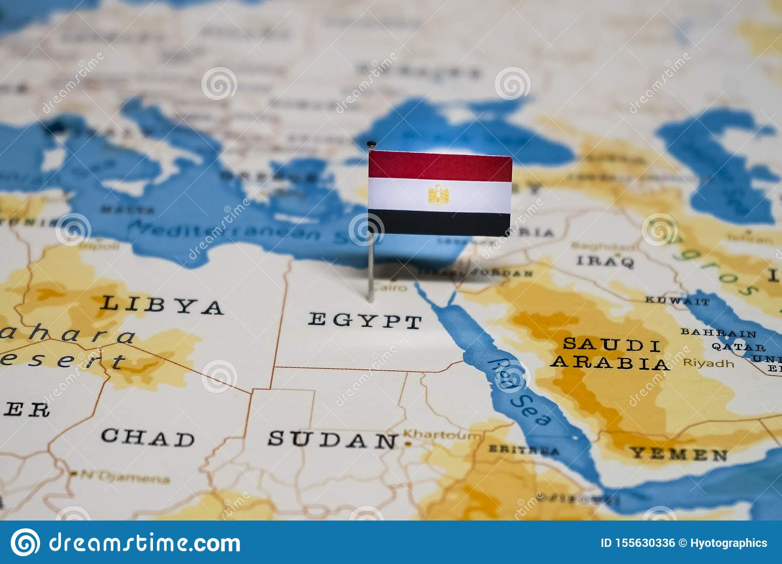 The Flag Of Egypt In The World Map Stock Photo - Image of ...