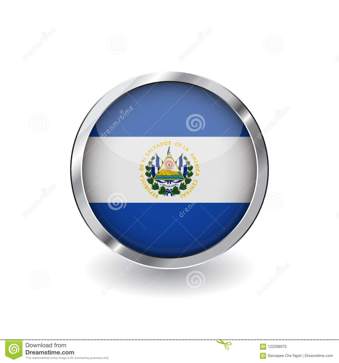 Flag of el salvador, button with metal frame and shadow. el salvador flag vector icon, badge with glossy effect and metallic borde