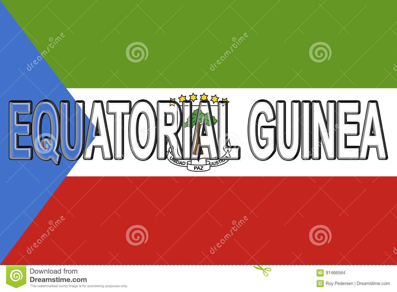 Flag Of Equatorial Guinea Wall Stock Illustration