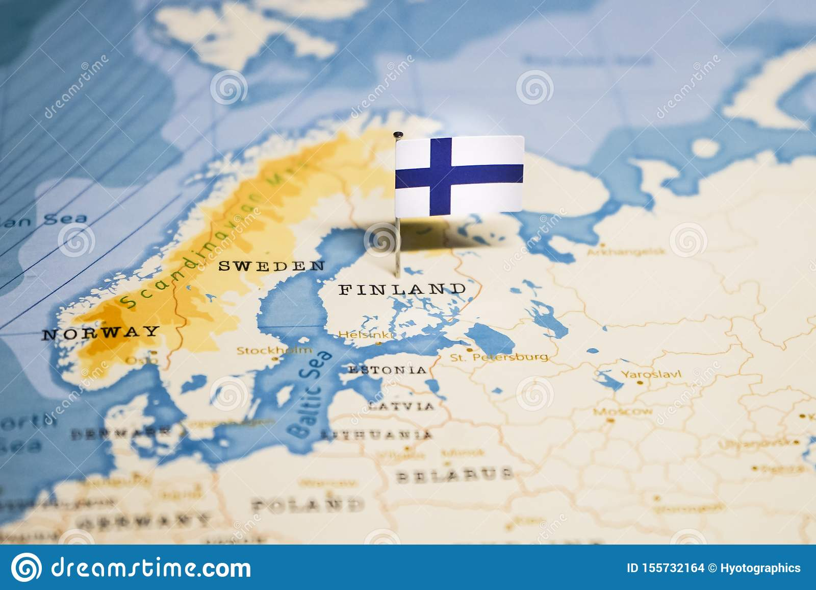 The Flag Of Finland In The World Map Stock Photo Image Of Country Nations 155732164
