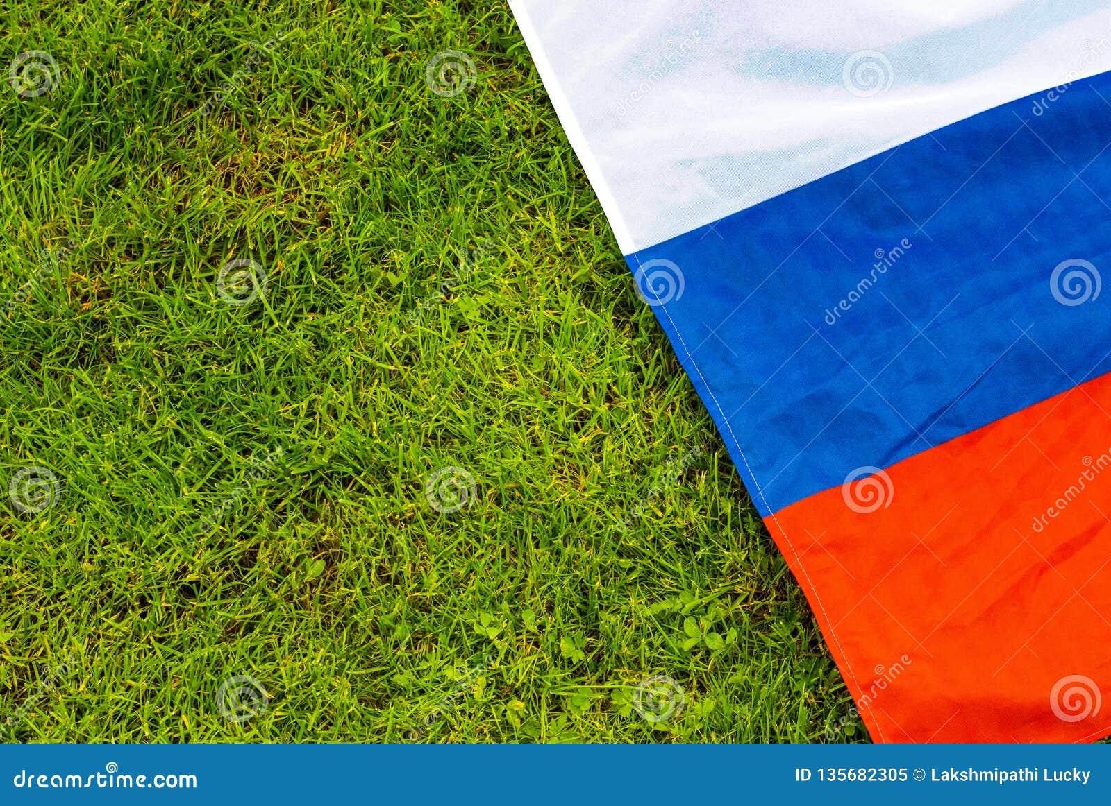 Flag on football court pitch grass pole lines closeup