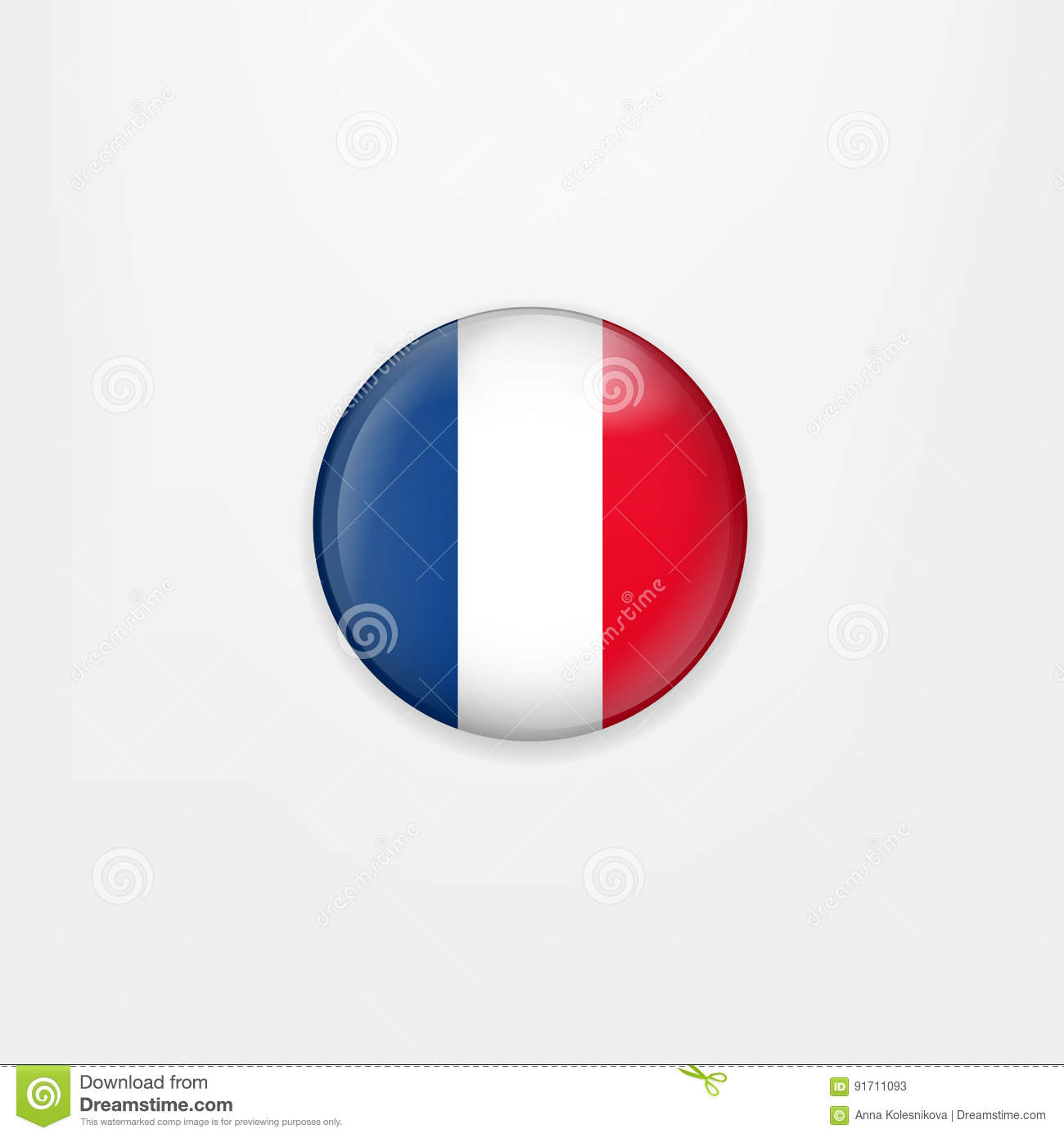 Flag Of France Round Icon Badge Or Button French National Symbol