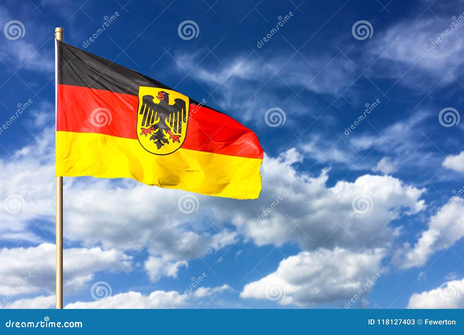 flag of germany federal republic of germany in german bundesrepublik deutschland waving in the. Black Bedroom Furniture Sets. Home Design Ideas