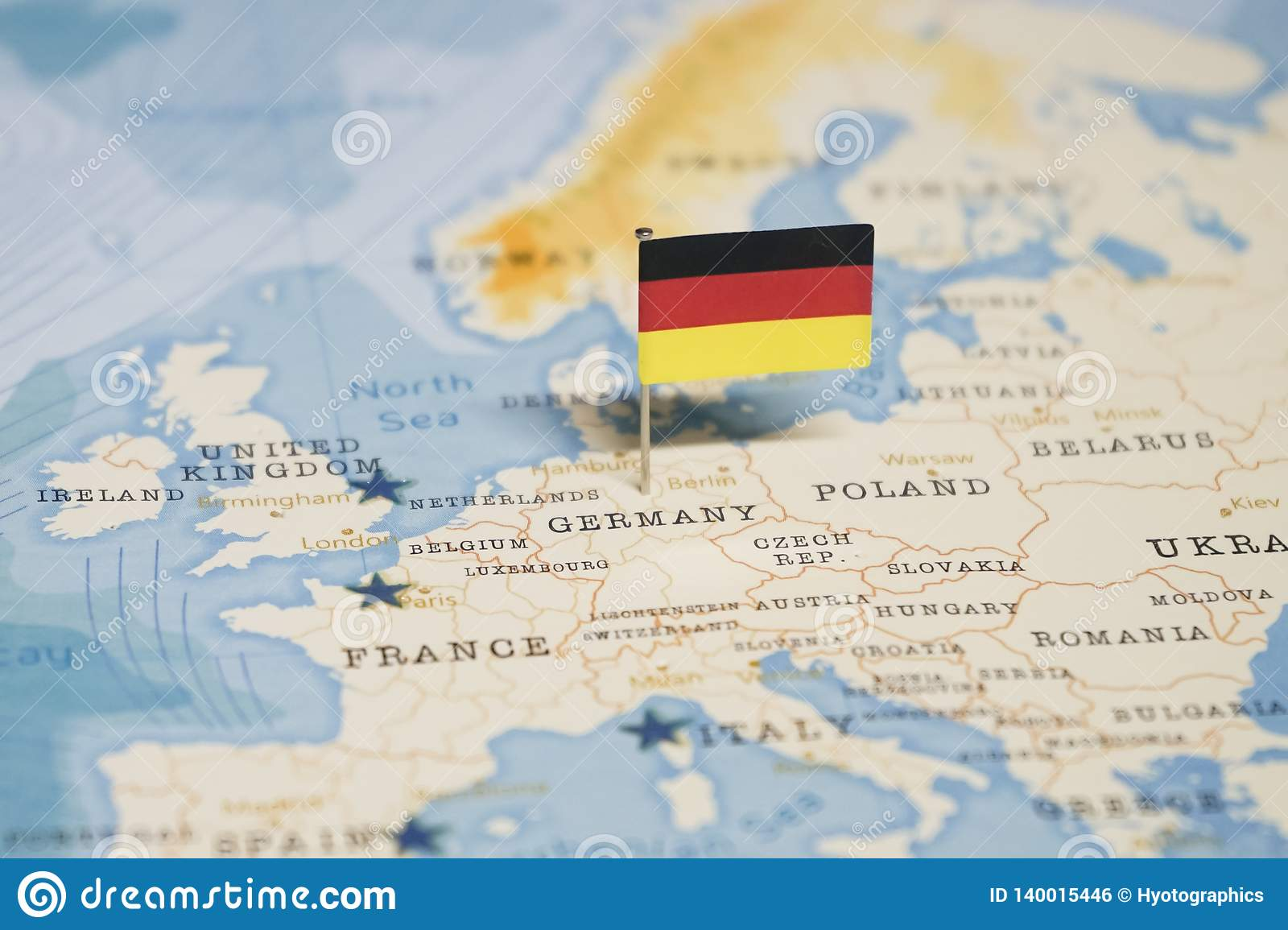Germany On Map Of World.The Flag Of Germany In The World Map Stock Photo Image Of