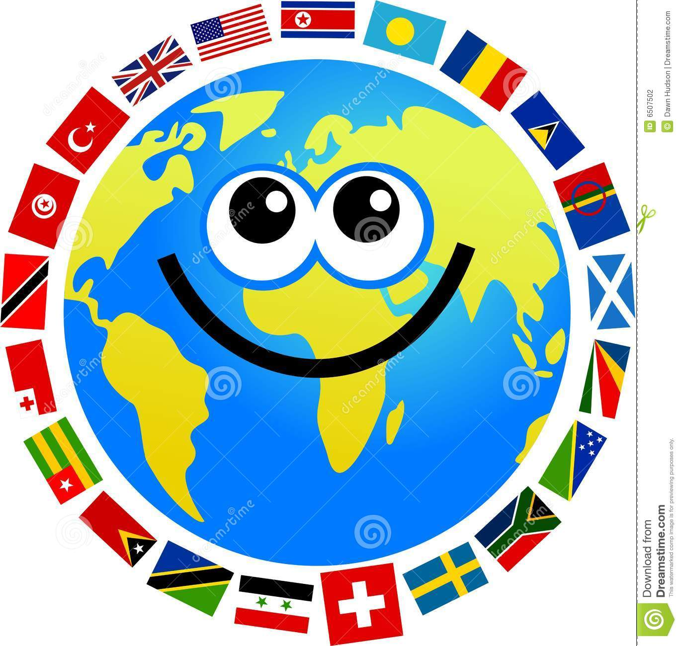 Happy cartoon world globe surrounded by flags.