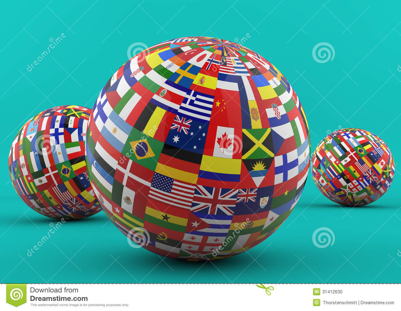 Flag Globe With Different Country Flags Stock Photo - Image: 31412630