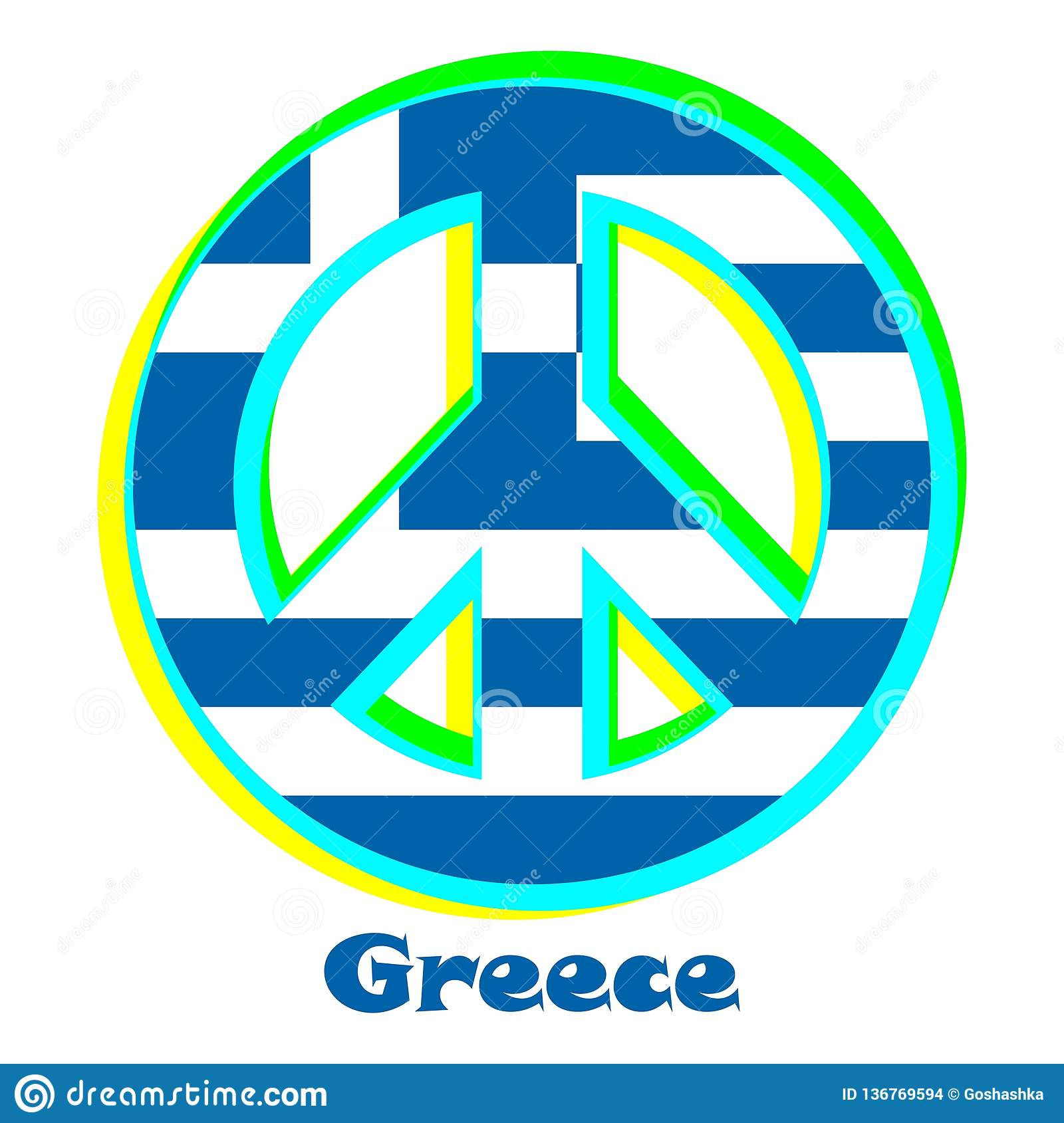 Flag of Greece as a sign of pacifism