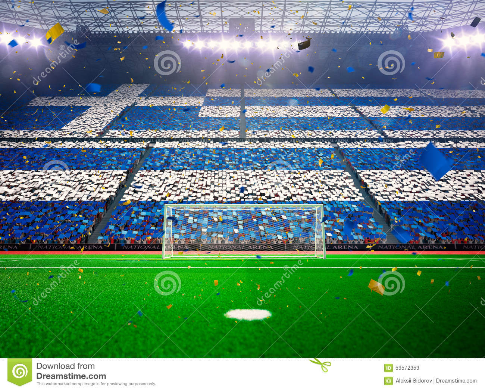 Flag Greece of fans. Evening stadium arena Blue