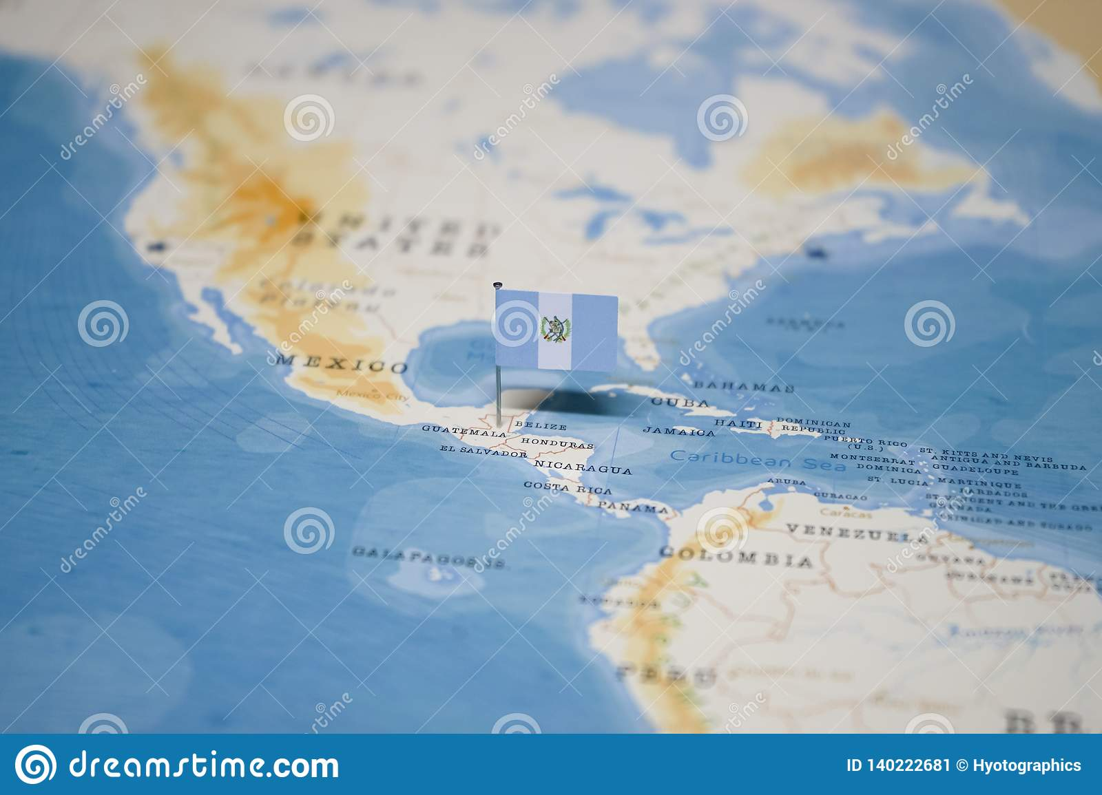 Picture of: The Flag Of Guatemala In The World Map Stock Image Image Of Geography City 140222681