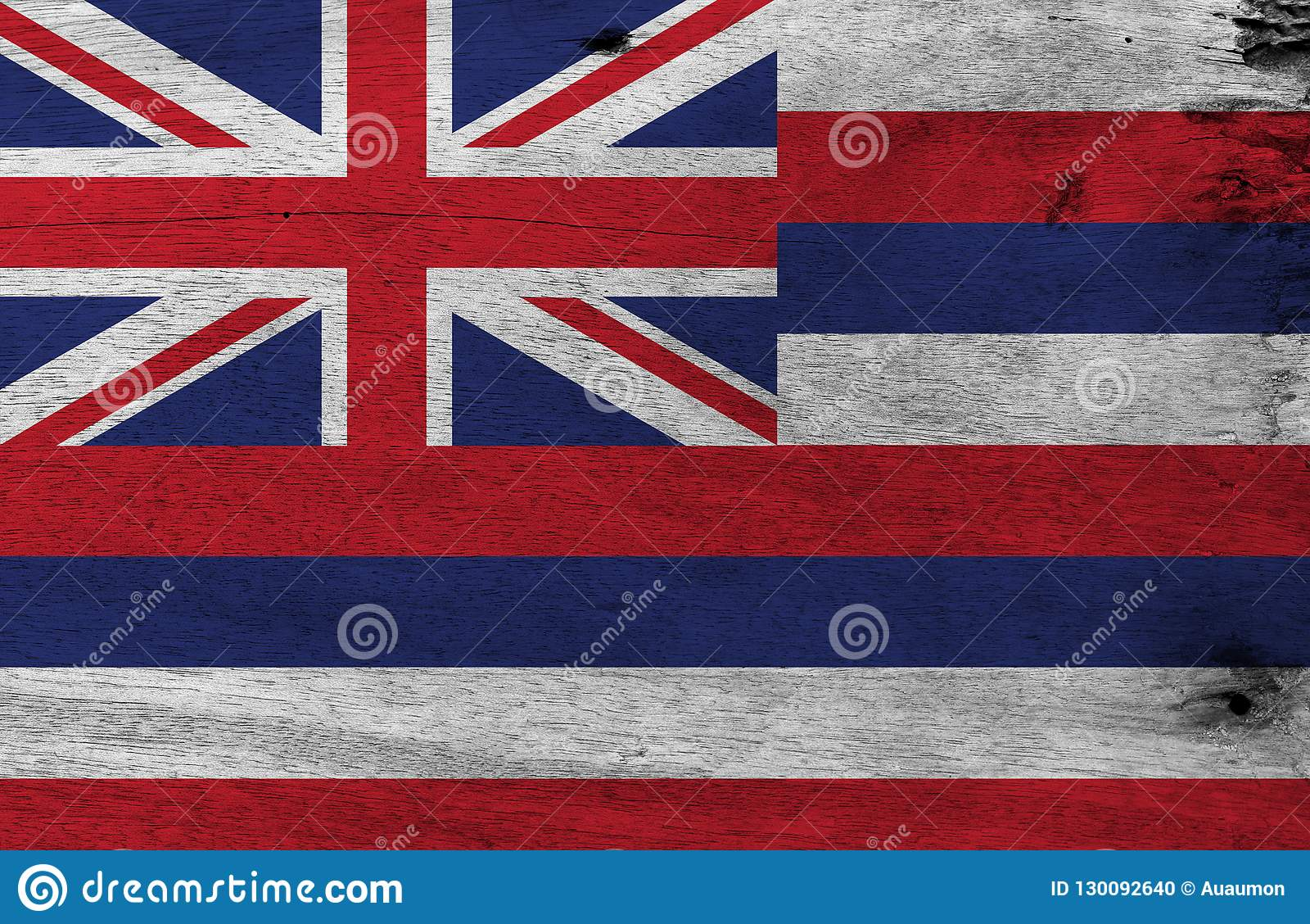 Flag of Hawaii on wooden plate background. Grunge Hawaii flag texture, The states of America.