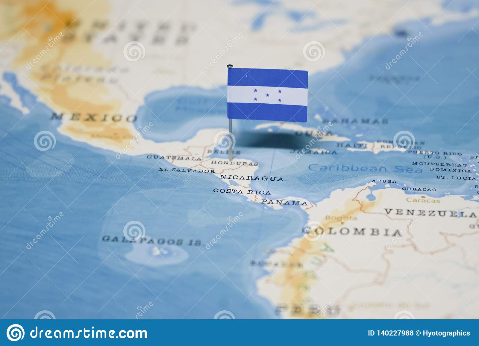 Picture of: The Flag Of Honduras In The World Map Stock Photo Image Of Geography Land 140227988