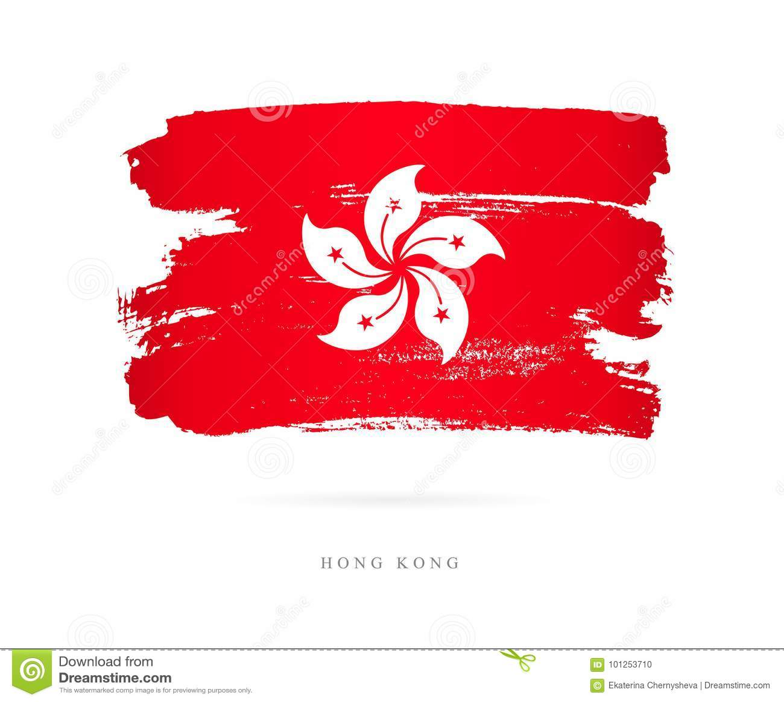 Flag Of Hong Kong Abstract Concept