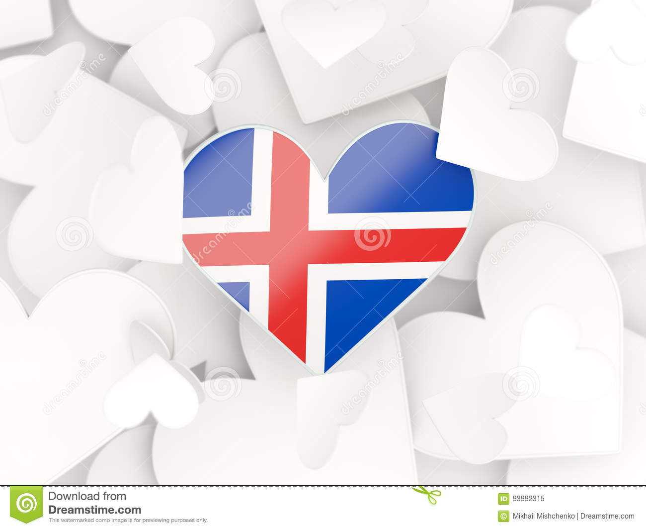 Flag of iceland heart shaped stickers