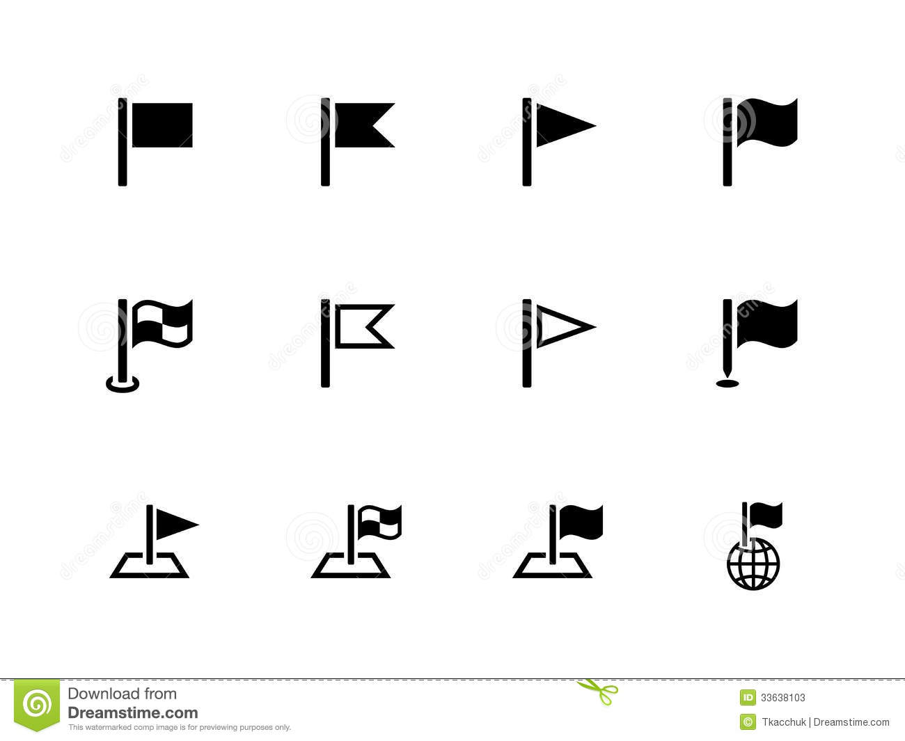 Flag Icons For Presentations On White Background Stock