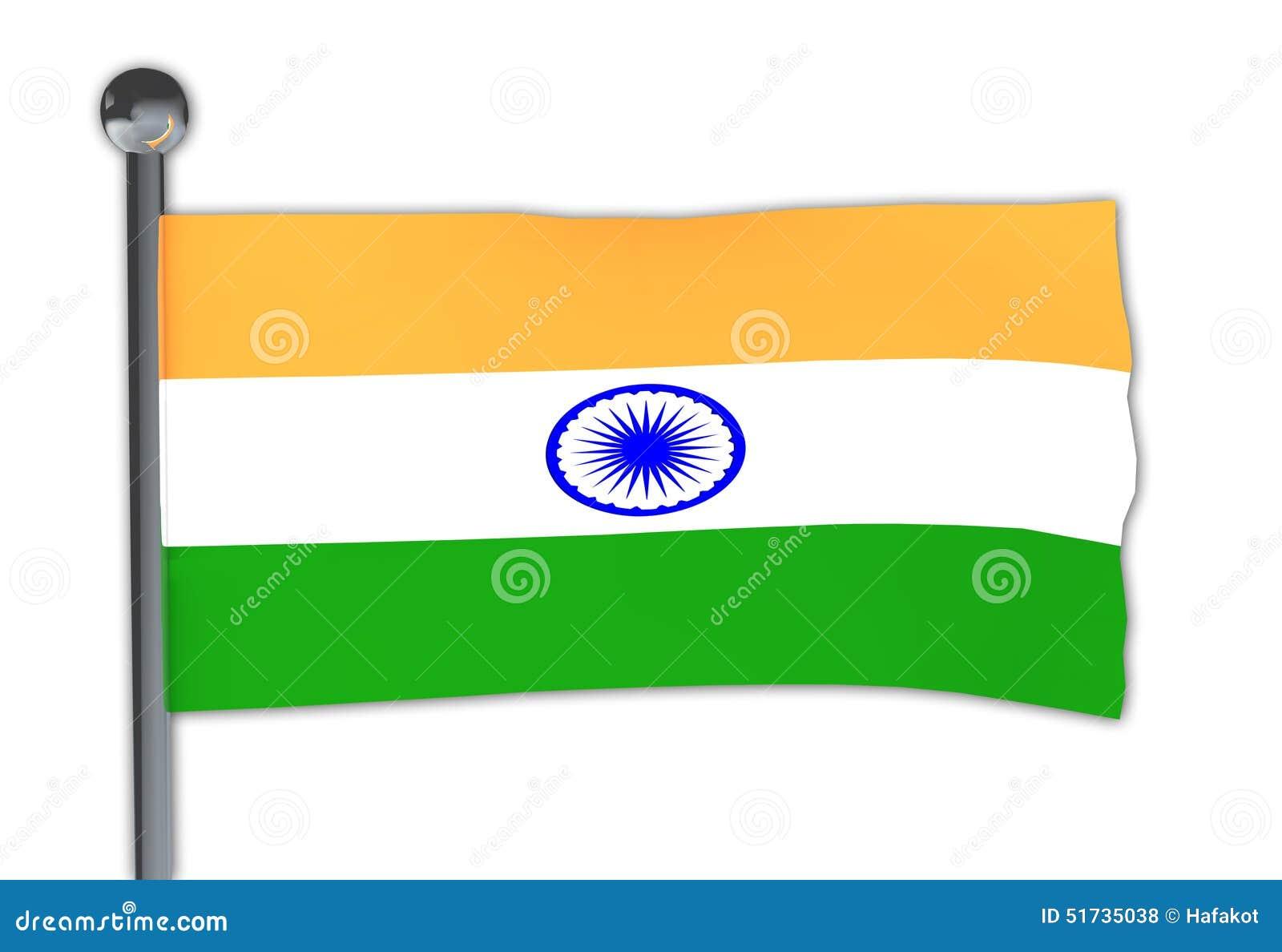 Stock Photo Flag India Pole Waving Wind Over White Background Image51735038 on Indian Flag With Pole