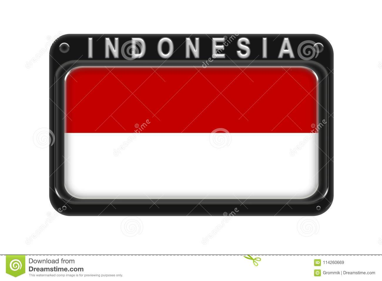 The flag of Indonesia in the frame with rivets on white background