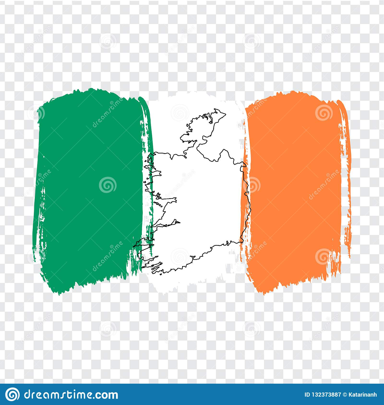 Blank Map Of Ireland.Flag Ireland From Brush Strokes And Blank Map Ireland High Quality
