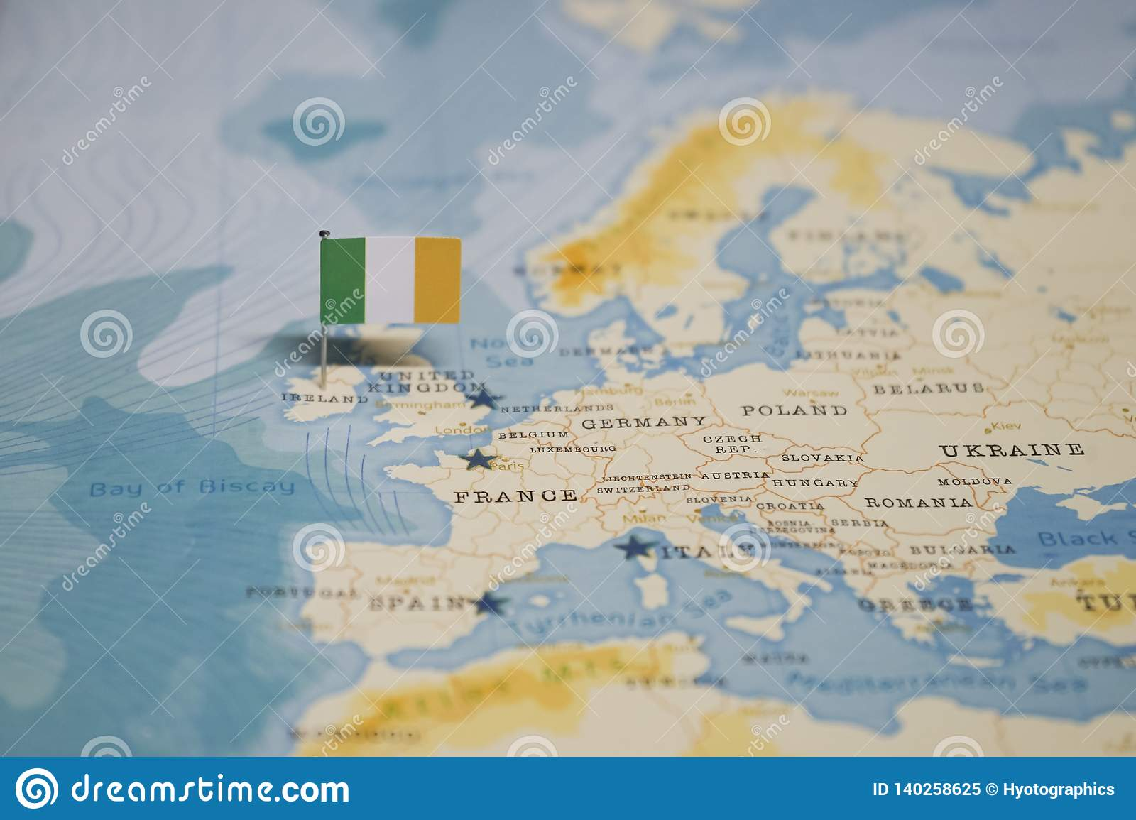 The Flag Of Ireland In The World Map Stock Image - Image of ...