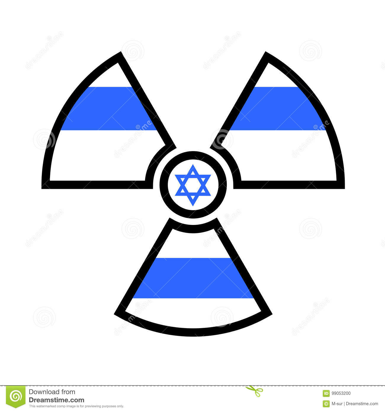 Flag Of Israel As Symbol Of Radiation Stock Vector Illustration Of