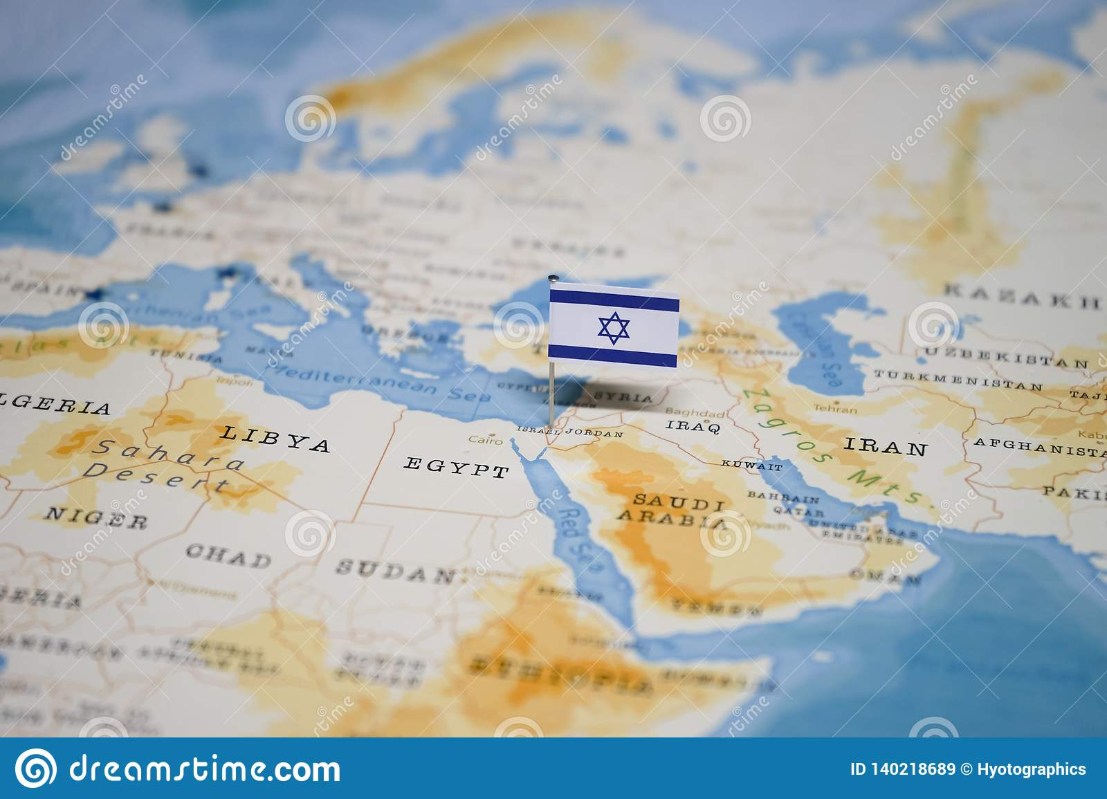 The Flag Of Israel In The World Map Stock Image - Image of ...