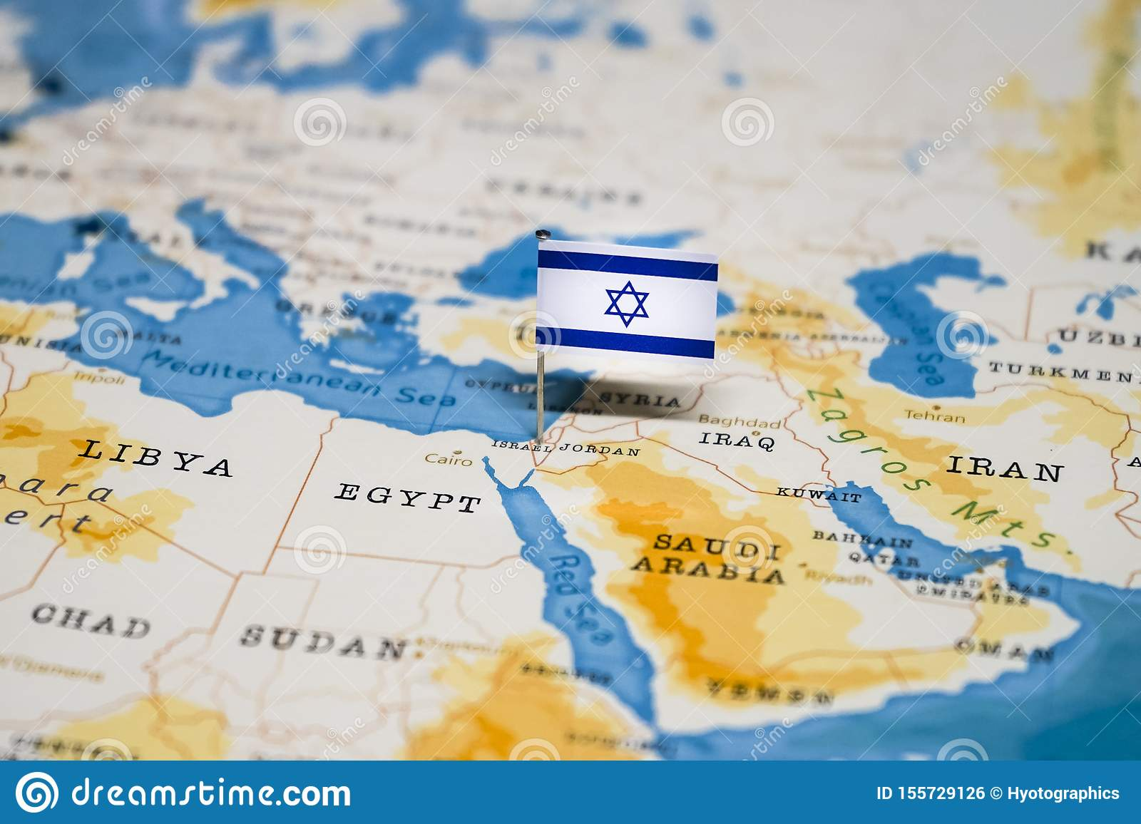 Image of: The Flag Of Israel In The World Map Stock Photo Image Of Globe Geography 155729126