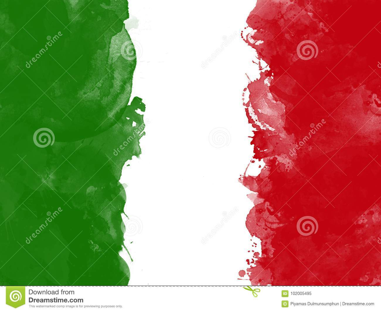 Flag of Italy by watercolor paint brush, grunge style