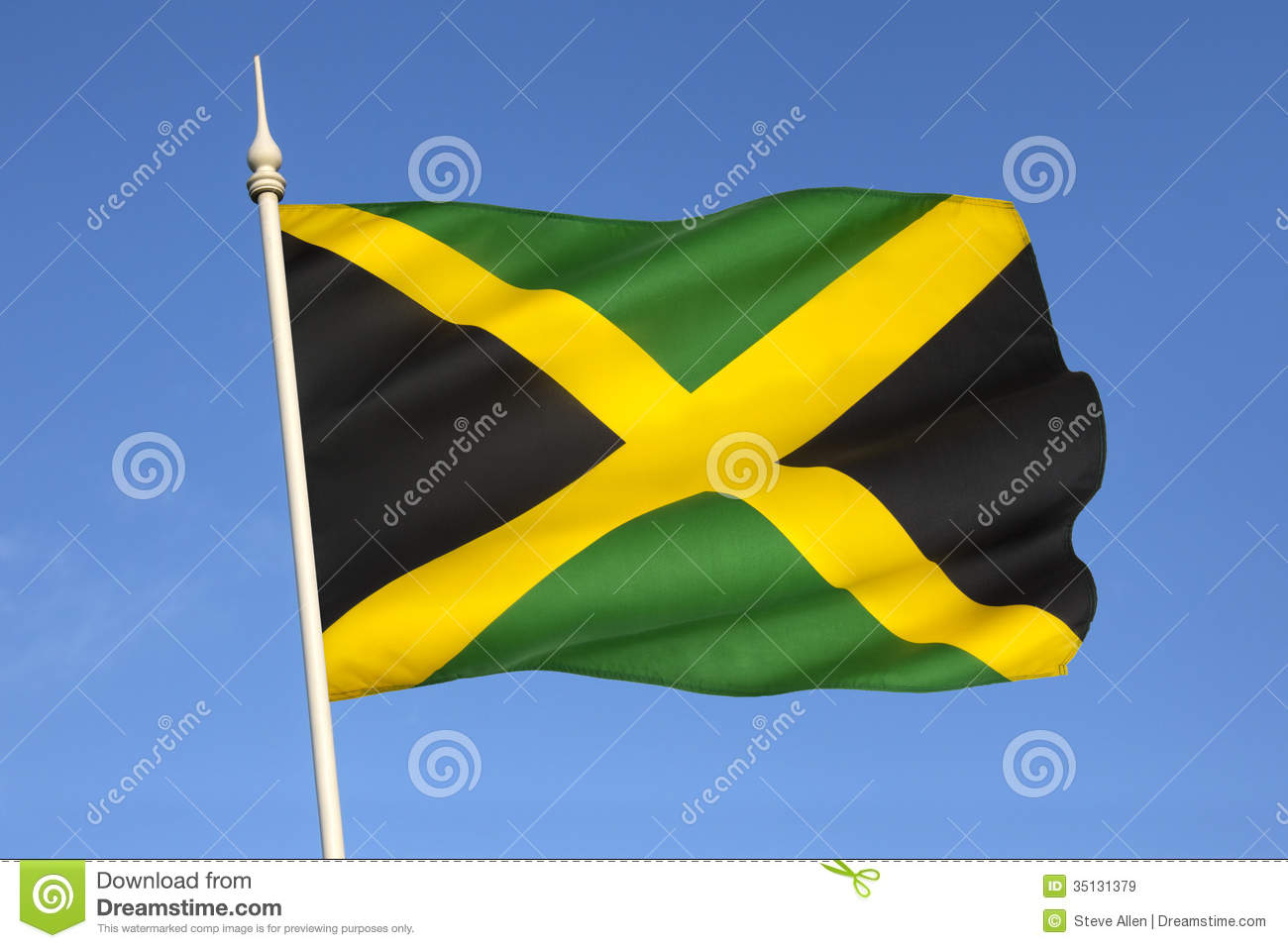 Flag Of Jamaica The Caribbean Royalty Free Stock Images