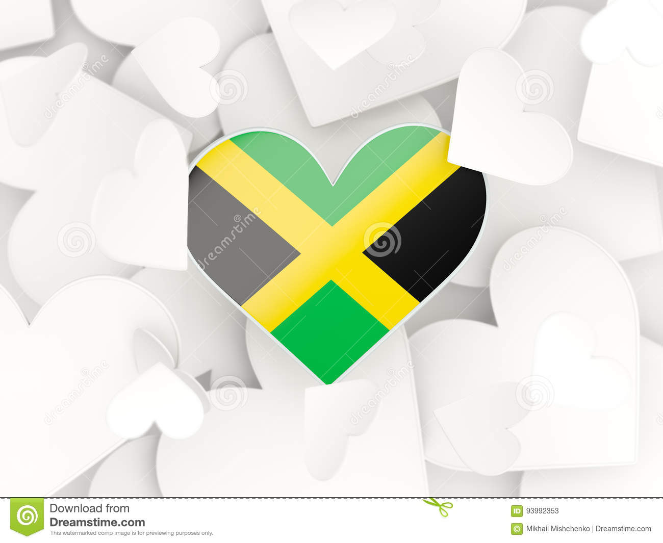 Flag of jamaica heart shaped stickers