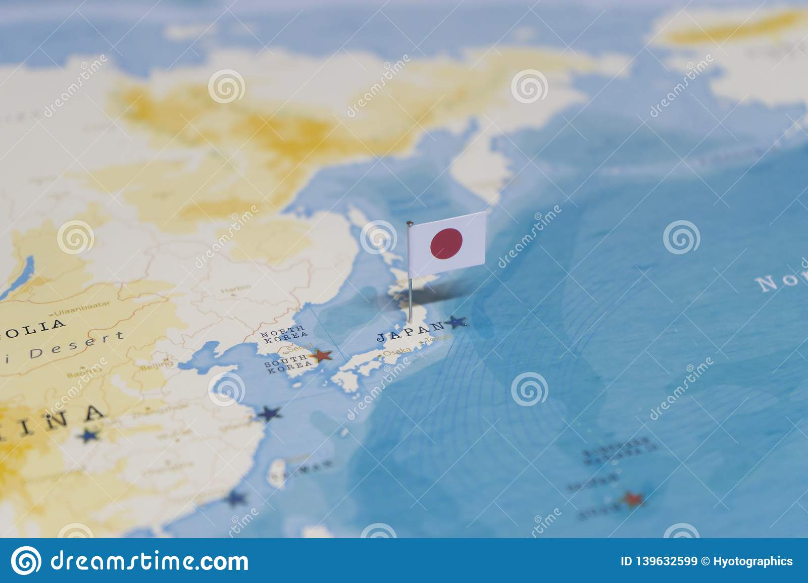 The Flag Of Japan In The World Map Stock Image - Image of ...