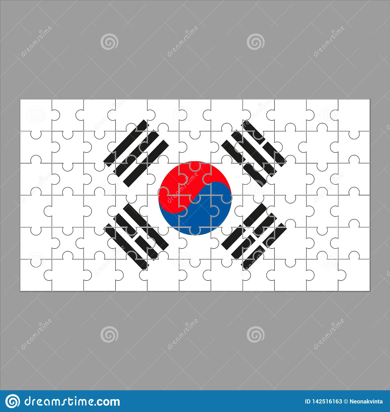 Flag Korea from puzzles on a gray background.
