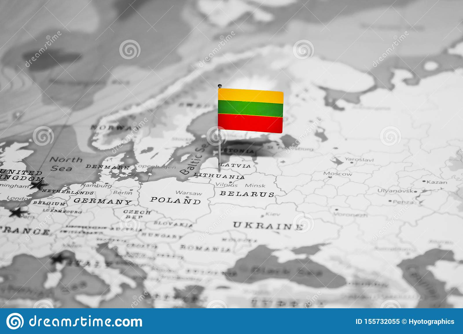 The Flag Of Lithuania In The World Map Stock Image - Image ...