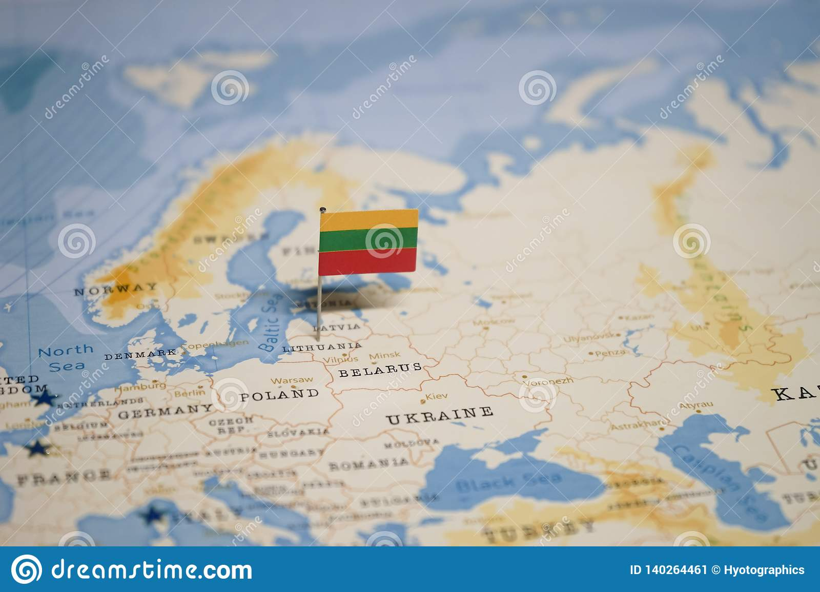 The Flag Of Lithuania In The World Map Stock Image Image Of Advertisement Globe 140264461
