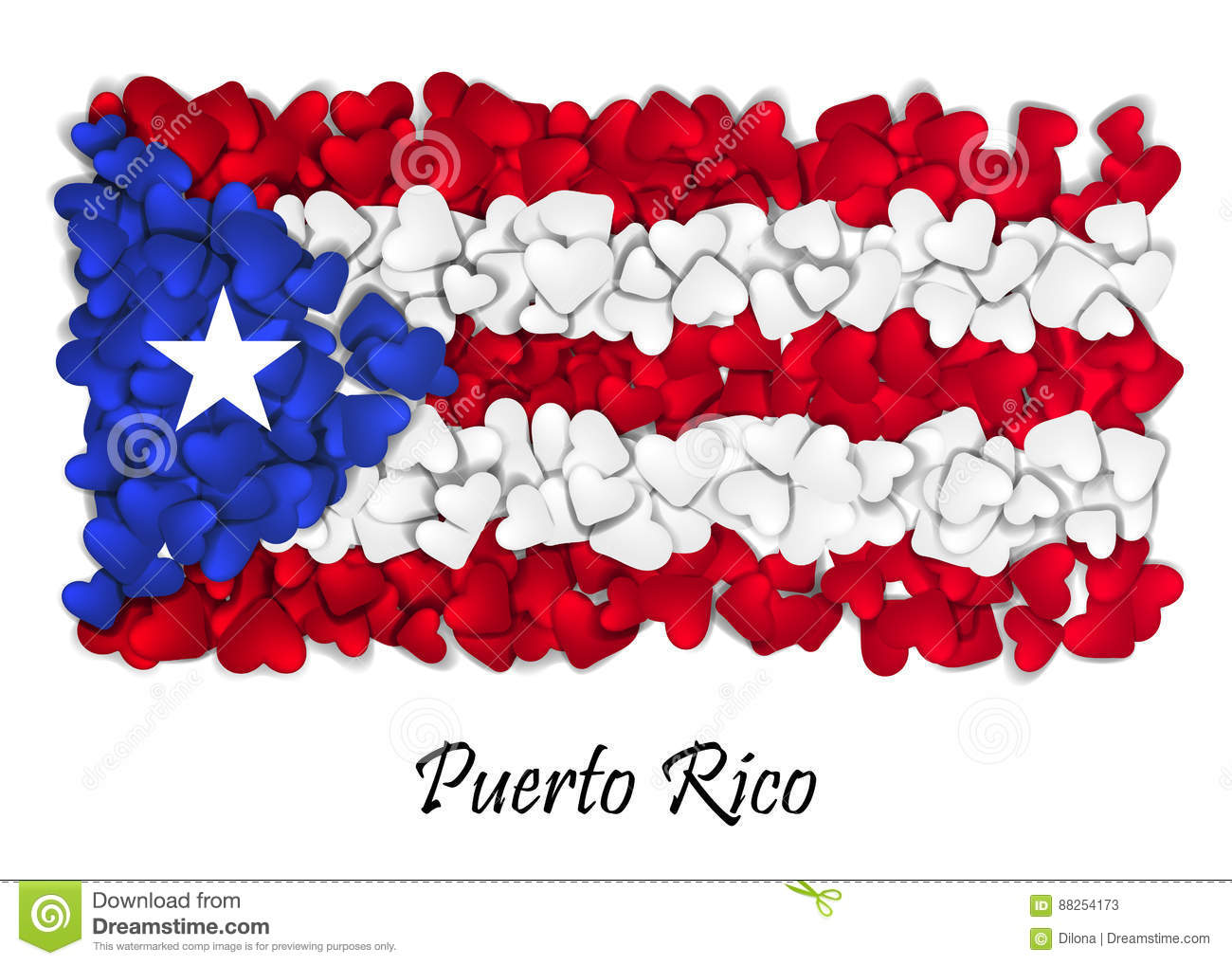Flag Love Puerto Rico Flag Heart Glossy With Love From Puerto Rico
