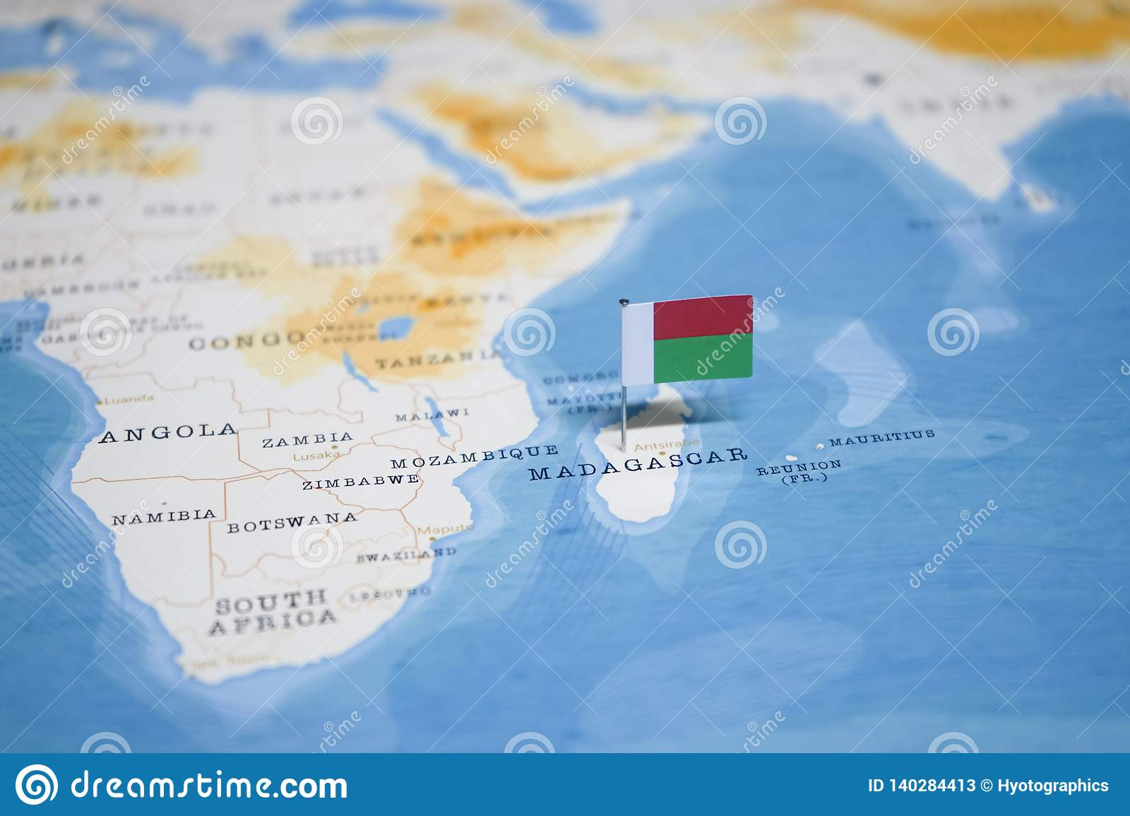 The Flag Of Madagascar In The World Map Stock Image - Image ...