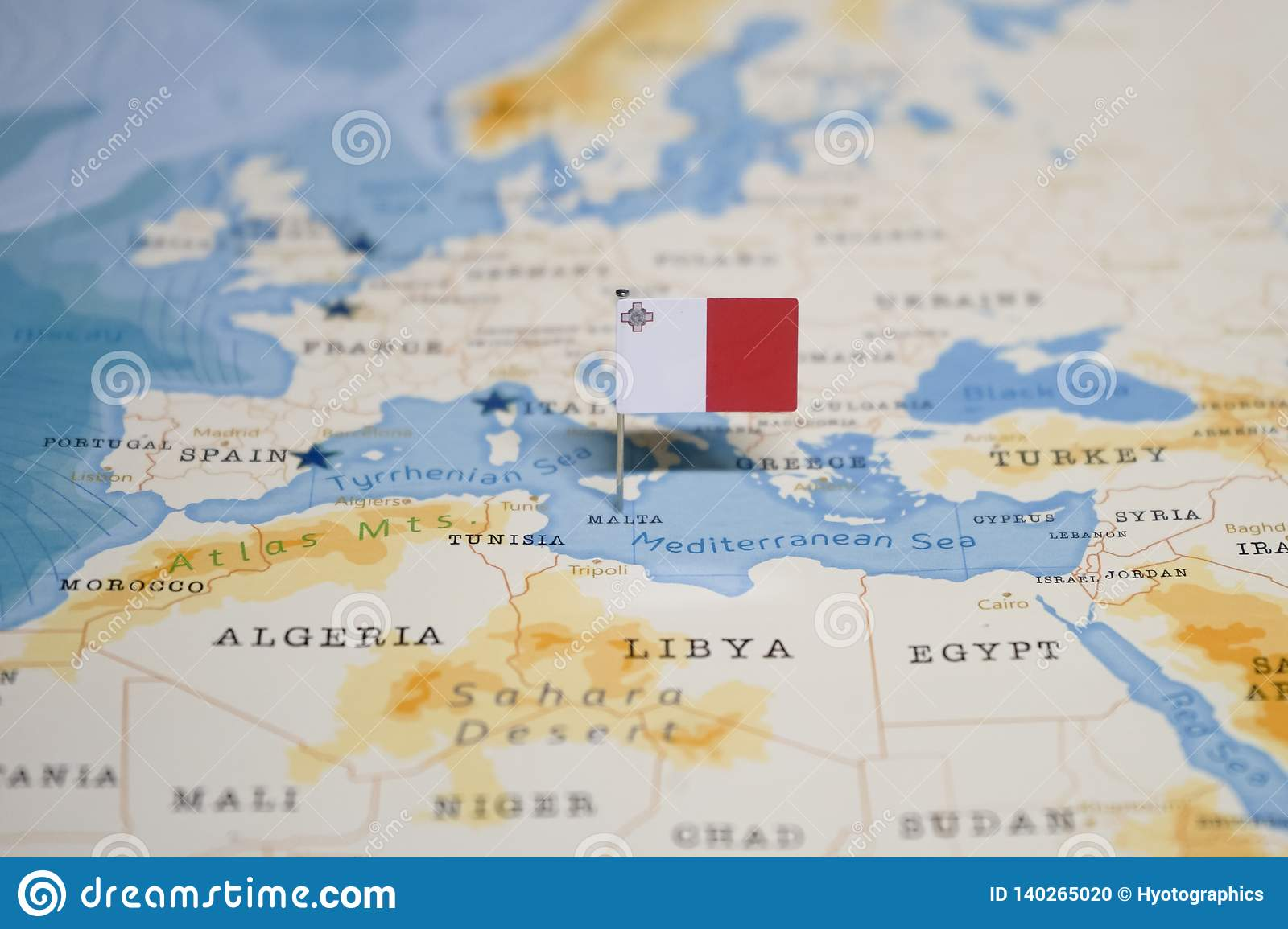 The Flag Of Malta In The World Map Stock Photo - Image of ...