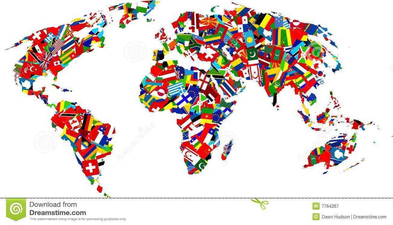 Flag map stock vector. Illustration of flags, cultural   7764267
