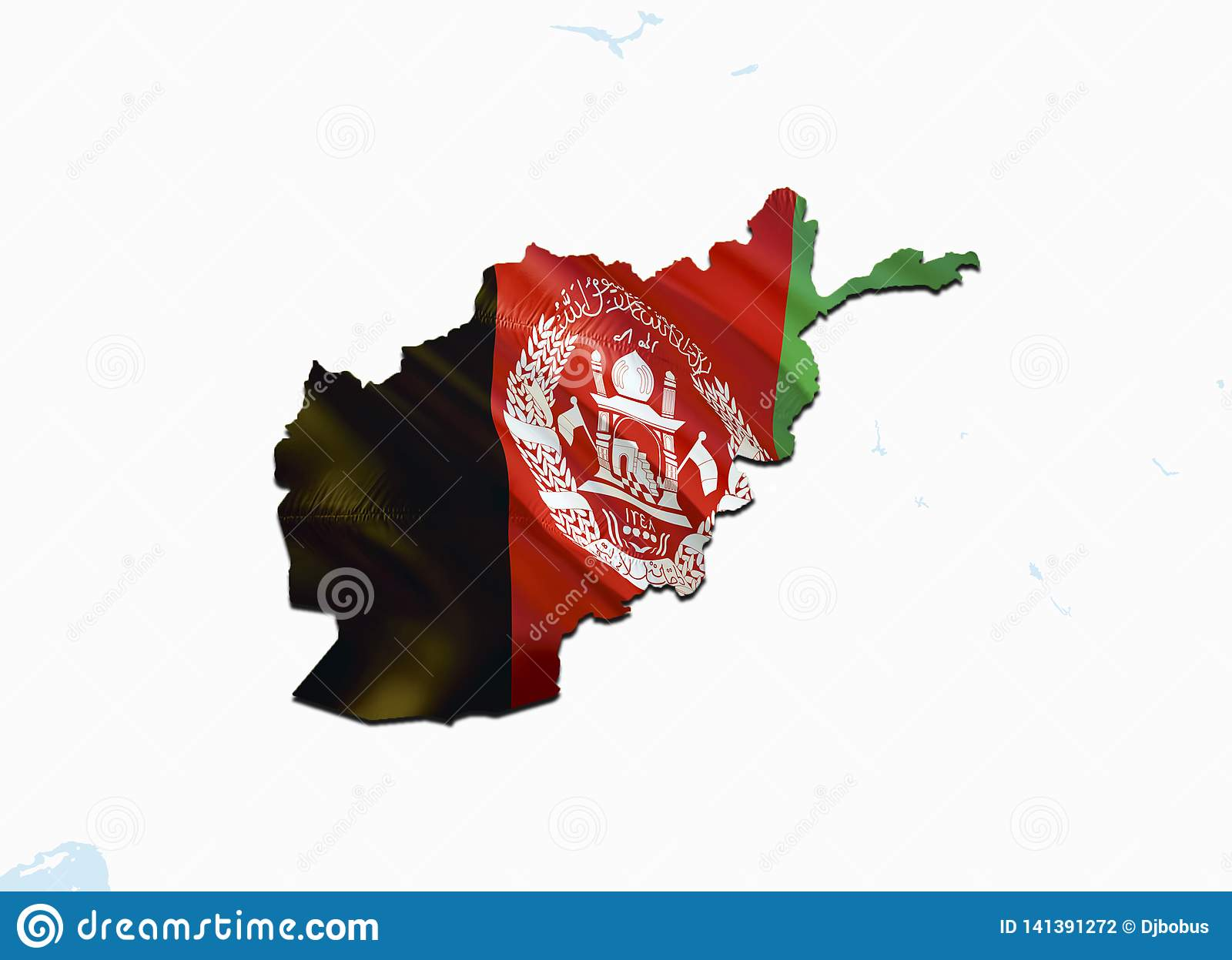Flag Map Of Afghanistan  3D Rendering Afghanistan Map And