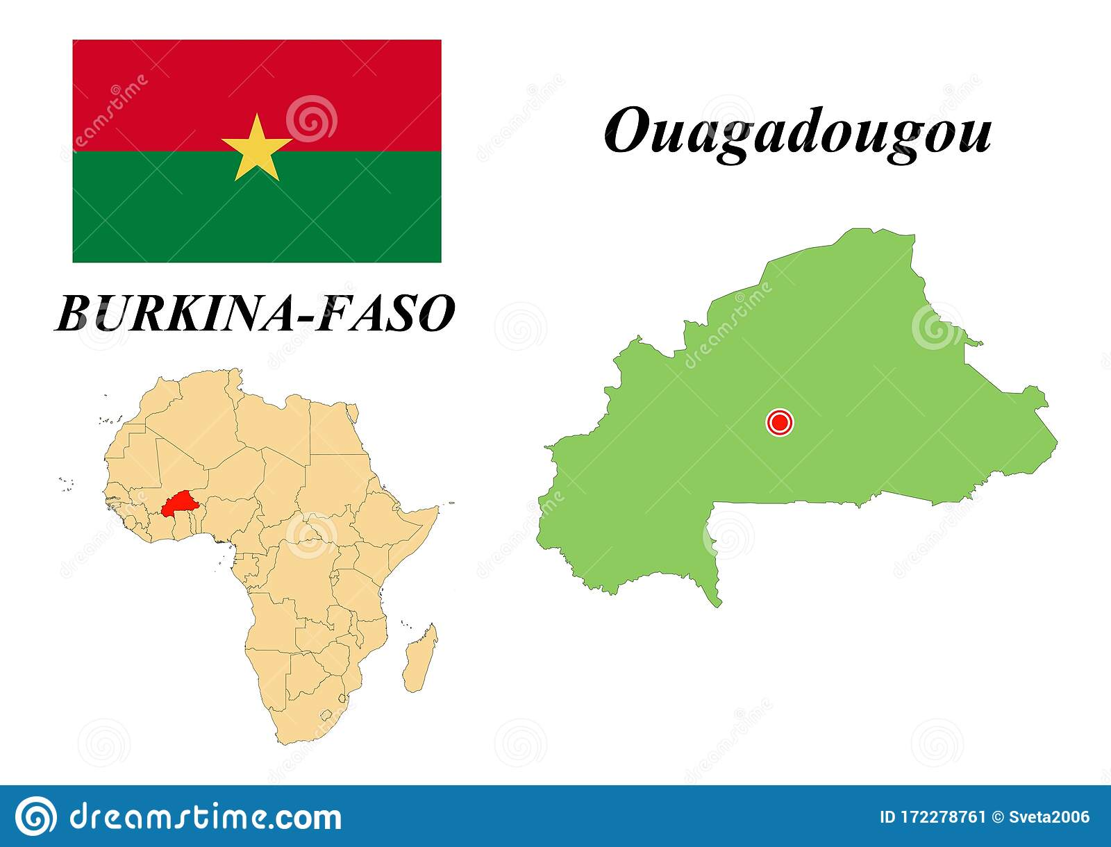 Flag Map Of The Capital Of Burkina Faso Stock Vector Illustration Of Development Geography 172278761