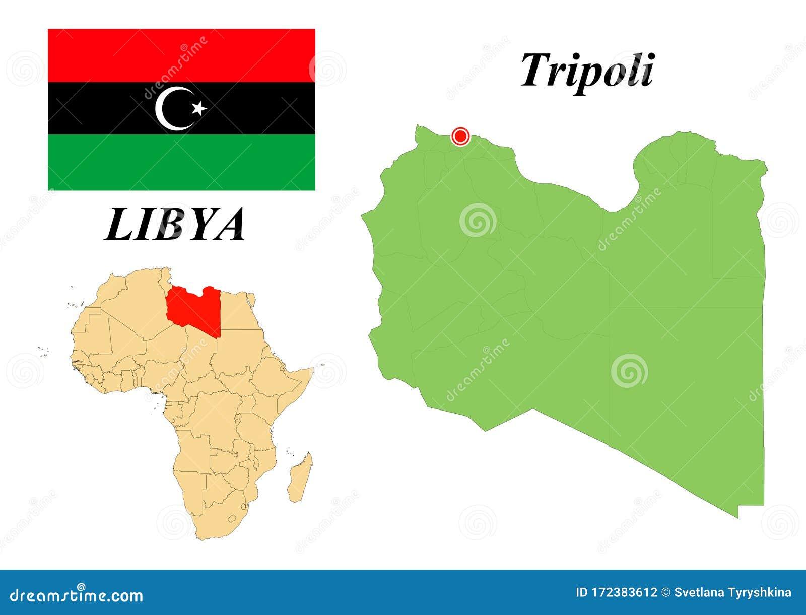 Flag Map Capital Of Libya Stock Vector Illustration Of Capital