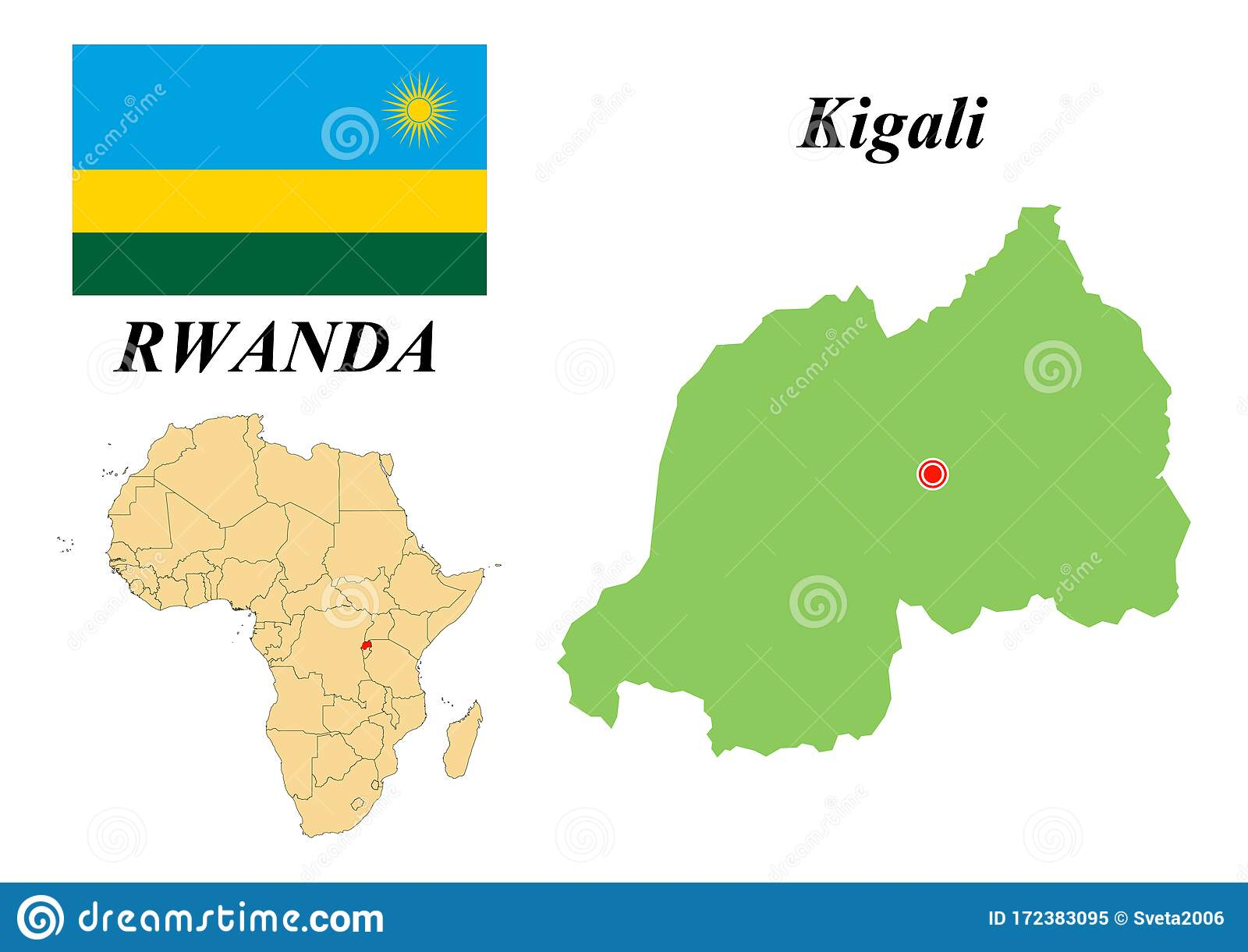 Flag Map Capital Of Rwanda Stock Vector Illustration Of Geography