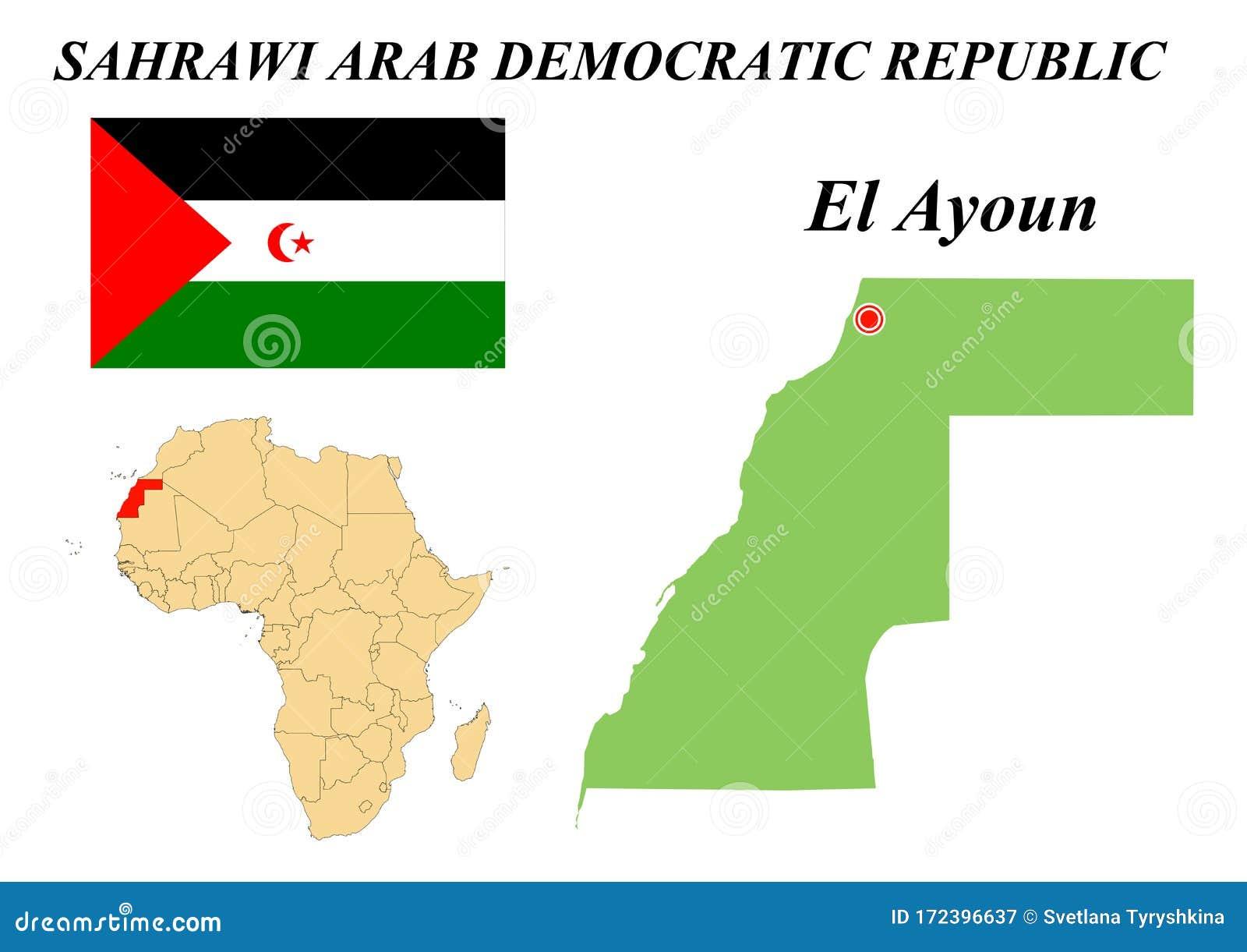 Flag Map Capital Of Western Sahara Stock Vector Illustration Of