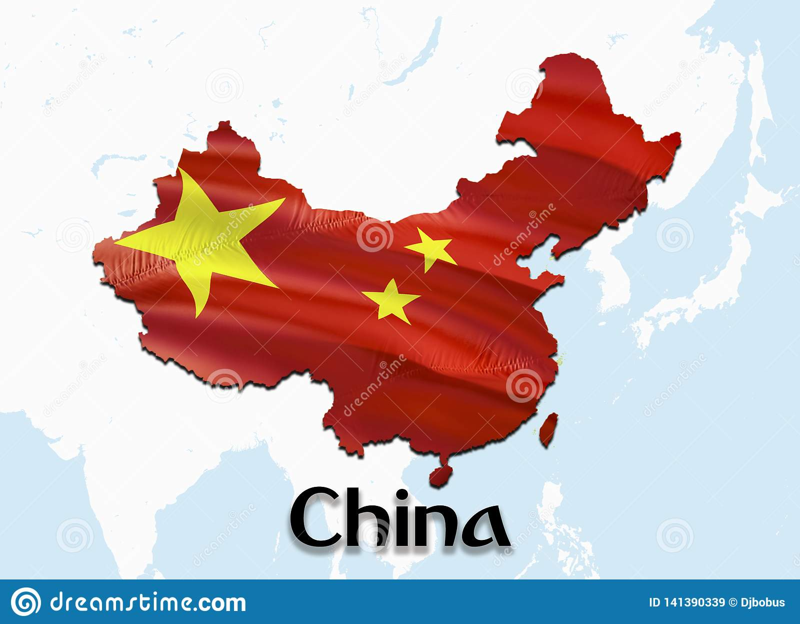Flag Map Of China With Taiwan. 3D Rendering China Map And Flag On ...