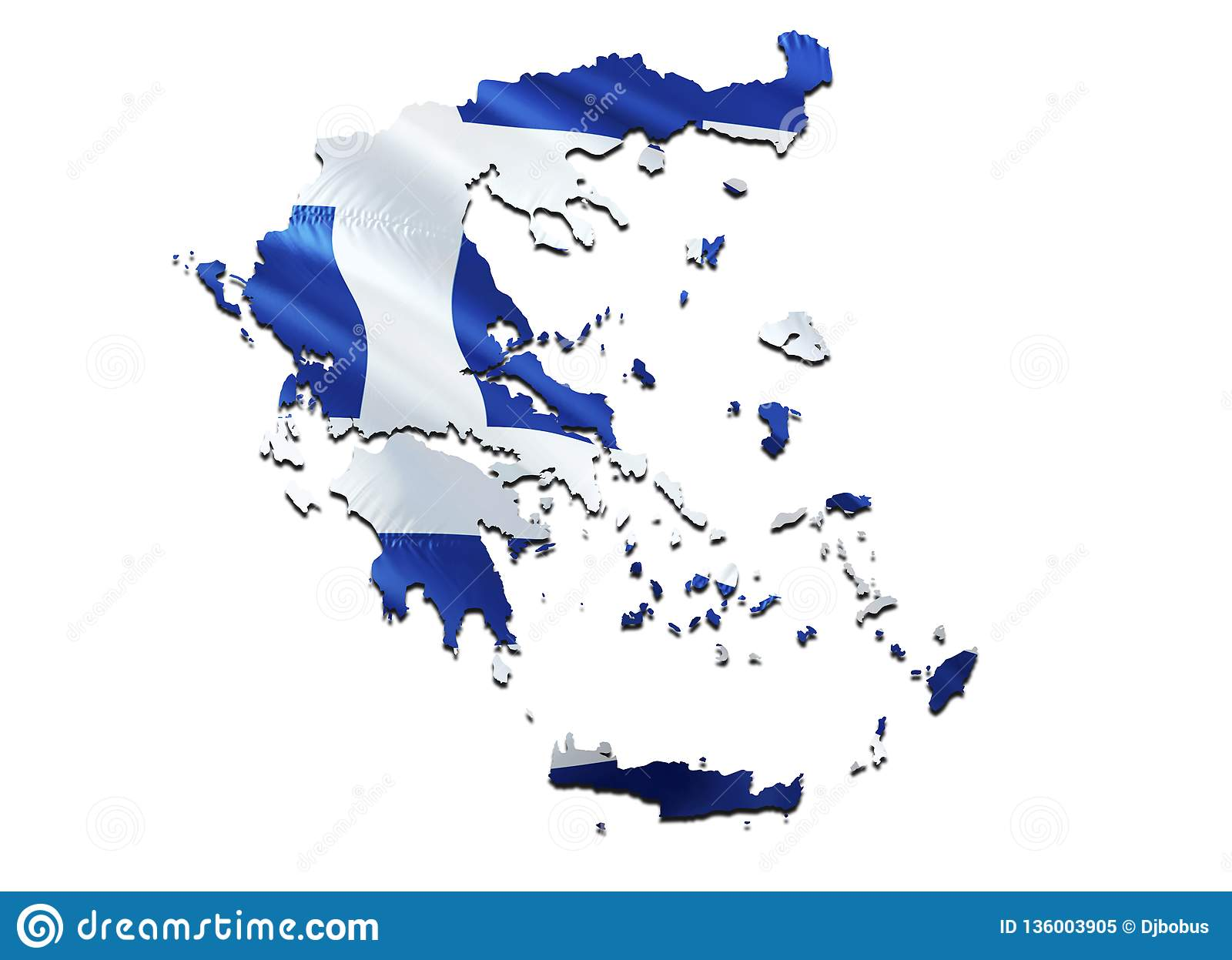 Flag Map of Greece. 3D rendering Greece map and flag. The national symbol of Greece. National waving flag colorful concept 3D